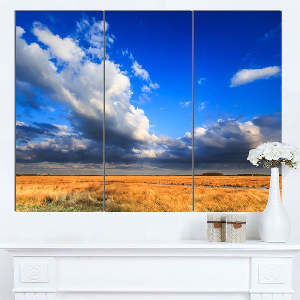 Designart 'Clouded Blue Sky over Prairie' Landscape Artwork Canvas Print