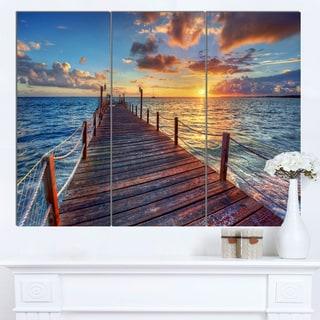 Designart 'Beautiful Sunset over Sea Pier' Modern Bridge Canvas Wall Art