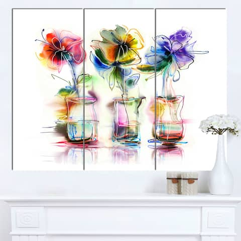 Designart 'Abstract Flowers in Glass Vases' Extra Large Floral Wall Art