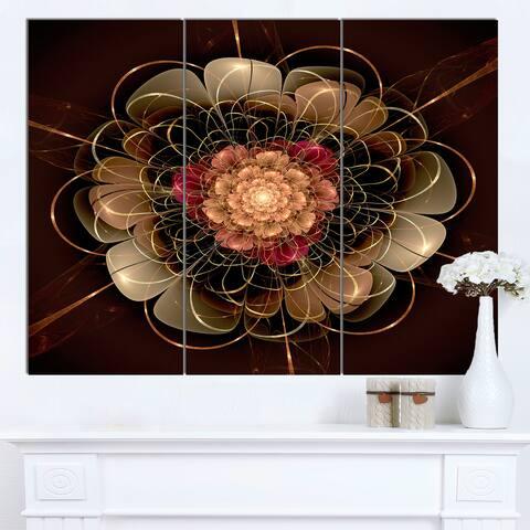 Designart 'Dark Gold Red Fractal Flower Pattern' Extra Large Floral Wall Art