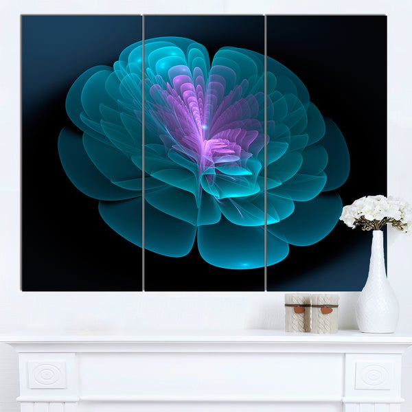 Designart 'Abstract Blue Floral Fractal Background' Extra Large Floral Wall Art