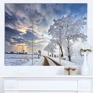 Designart 'Cloudscape in White Winter Terrain' Landscape Artwork Canvas Print