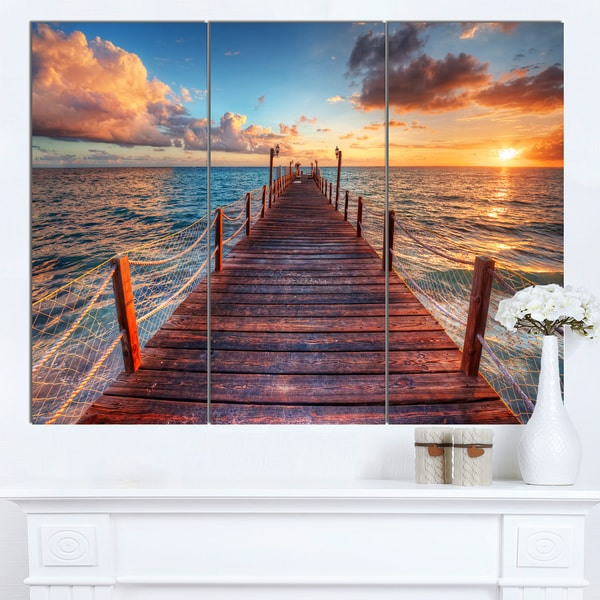Designart X27sunset Over Wooden Sea Pierx27 Modern Bridge Canvas: Pier And Sunset Color Sheet At Alzheimers-prions.com