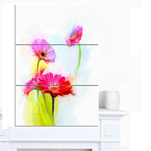 Designart 'Still Life Cute Red Gerbera Flowers' Modern Floral Wall Art Canvas