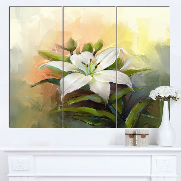 Designart 'White Lily Flower Oil Painting' Modern Floral Wall Art Canvas - White
