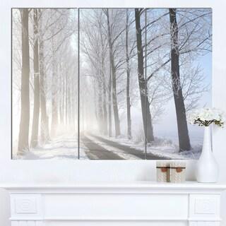 Designart 'Winter Rural Road on Misty Morning' Large Forest Artwork Canvas