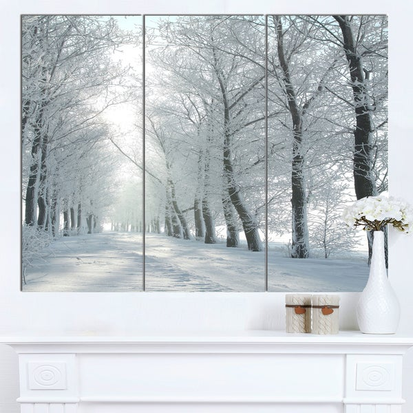 Designart 'Winter Country Lane on Frosty Morning' Large Forest Artwork Canvas