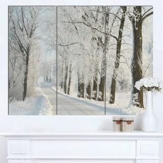 Designart 'Winter Road in Dense Foggy Forest' Large Forest Artwork Canvas
