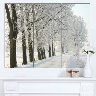 Designart 'Winter Rural Road at Sunrise' Large Forest Artwork Canvas