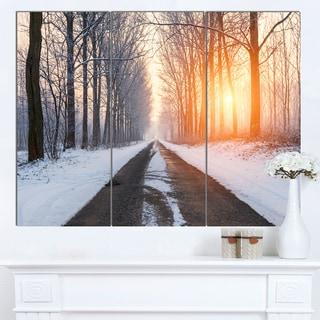 Designart 'Bright Sun Break in Winter Forest' Large Forest Artwork Canvas