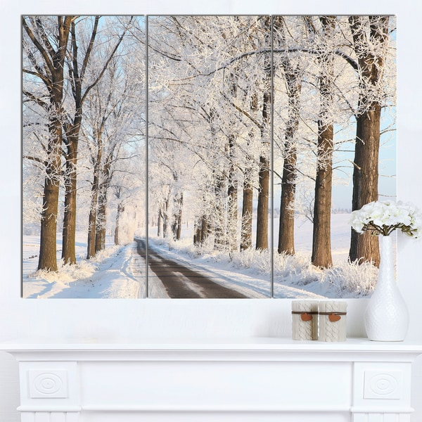 Designart 'Beautiful Winter Lane at Morning' Large Forest Artwork Canvas