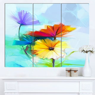 Designart 'Amazing Watercolor of Spring Daisies' Modern Floral Wall Art Canvas