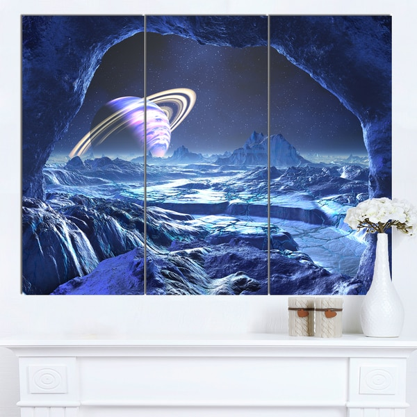Designart 'Electric Blue Alien World' Landscape Artwork Canvas Print