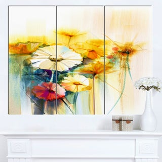 Designart 'Bunch of White Yellow Flowers' Modern Floral Wall Art Canvas