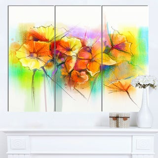 Designart 'Bright Yellow Gerbera and Daisies' Modern Floral Wall Art Canvas