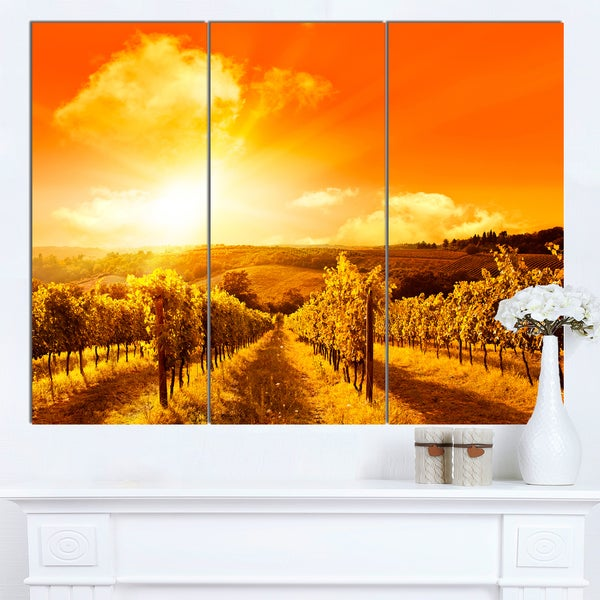 Designart 'Scenic Sunset Road in Italy' Landscape Wall Art Print Canvas
