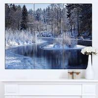 Designart 'Winter Lake in Deep Forest' Landscape Artwork Canvas Print