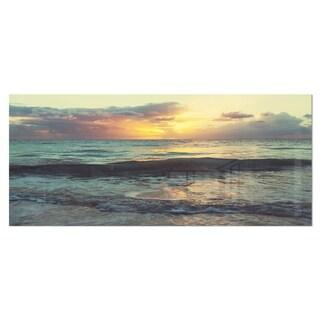 Designart 'Colorful Bluish Waters At Sunset' Seashore Metal Wall Art