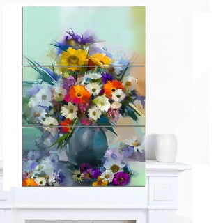 Designart 'Hand-painted Bunch of Small Flowers' Modern Floral Wall Art Canvas