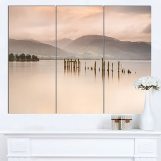 Designart 'Loch Lomond Jetty and Mountains' Landscape Wall Art Print Canvas