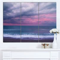 Designart 'Blue and Pink Unset over Sea' Modern Seashore Canvas Wall Art Print - Blue