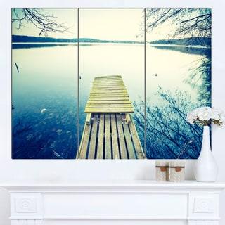 Designart 'Sunset Over Tranquil Lake' Large Bridge Canvas Wall Artwork