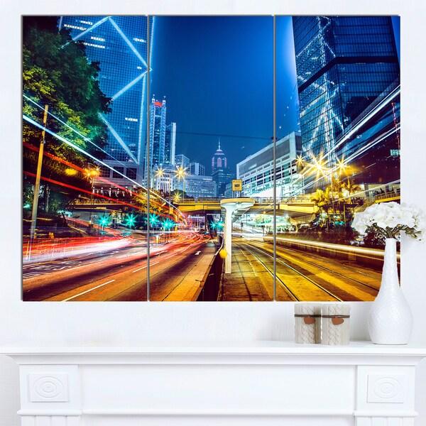 Designart 'Hong Kong City Night Scene' Large Cityscape Art Print on Canvas