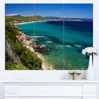 Designart 'Beautiful Greek Beach of Sea' Modern Seashore Canvas Wall Art Print