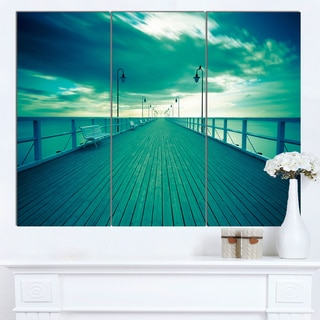 Designart 'Blue Seascape With Wooden Pier' Large Bridge Canvas Wall Artwork