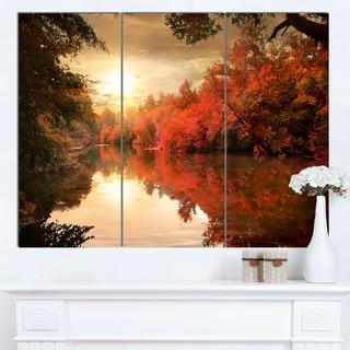 Designart 'Colorful Fall Sunset over River' Landscape Artwork Canvas Print