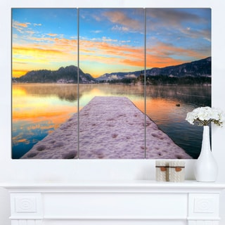 Designart 'Bled With Lake in Winter Slovenia' Large Bridge Canvas Wall Artwork