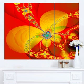 Designart 'Red Yellow Colorful Fractal Pattern' Modern Floral Wall Artwork