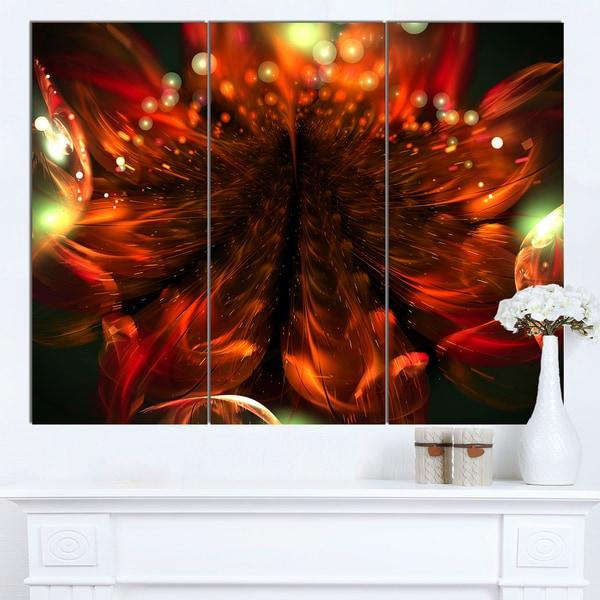 Designart 'Abstract Fractal Orange Flower' Modern Floral Wall Artwork
