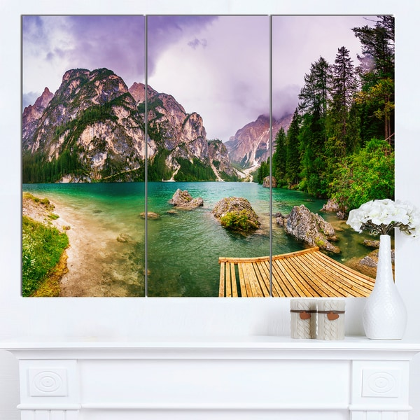 Designart 'Mountain Lake Between Mountains' Landscape Wall Art Print Canvas