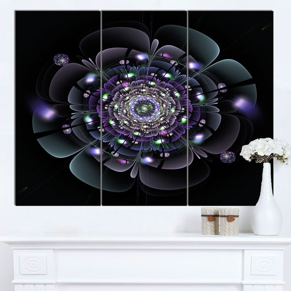 Designart 'Blue and Black Fractal Flower' Modern Floral Wall Artwork - Blue