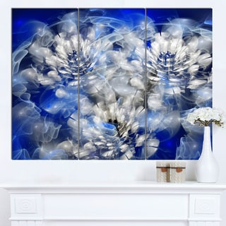 Designart 'White Chrysanthemum Fractal Flower' Large Flower Canvas Art Print