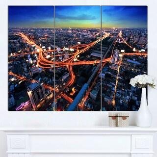 Designart 'Bangkok Expressway Aerial View' Extra Large Cityscape Wall Art on Canvas