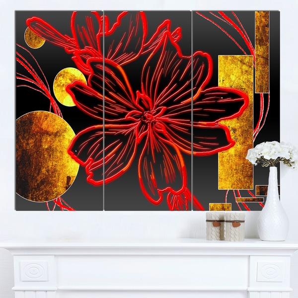 Shop Designart \'Abstract Red Flower Painting\' Modern Flower Canvas ...