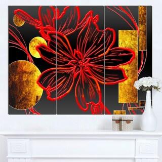 Designart 'Abstract Red Flower Painting' Modern Flower Canvas Wall Artwork