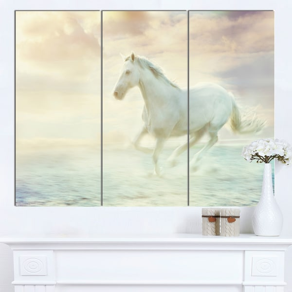 Designart 'Fantasy White Horse' Modern Animal Canvas Wall Artwork