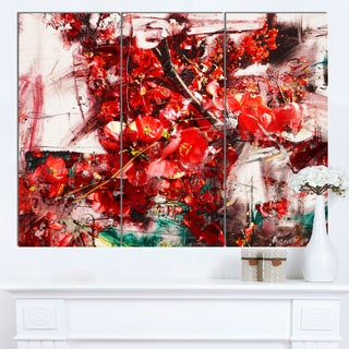Designart 'Red Flowers Texture Watercolor' Large Abstract Canvas Artwork