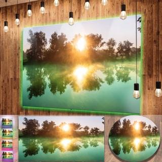 Designart 'Beautiful Summer River At Sunset' Oversized Landscape Photography on Aluminium