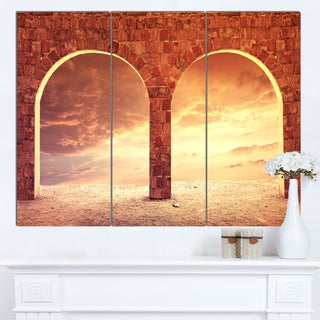 Designart 'Fantasy Background with two Arches' Landscape Artwork Canvas Print