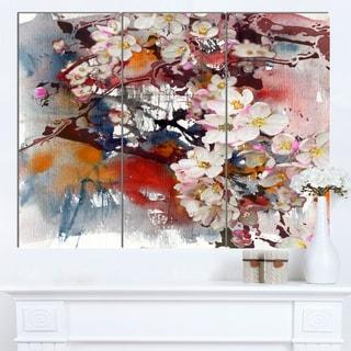 Designart 'Blossoming Apple Tree Background' Floral Canvas Artwork
