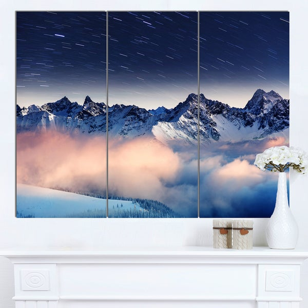 Designart 'Milky Way Over Frosted Mountains' Landscape Artwork Canvas Print