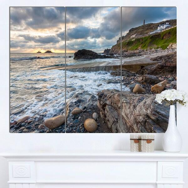 Designart 'Priests Cove Cape Cornwall' Large Seashore Canvas Artwork Print