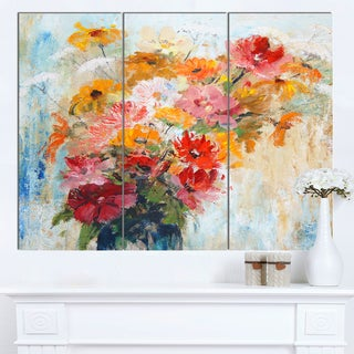 Designart 'Flowers in Vase Painted Illustration' Floral Canvas Artwork