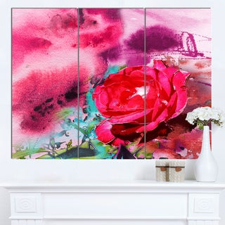 Designart 'Red Rose on Abstract Paper' Floral Canvas Artwork