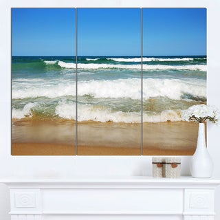 Designart 'Beautiful Empty Beach under Blue Sky' Large Seashore Canvas Artwork Print