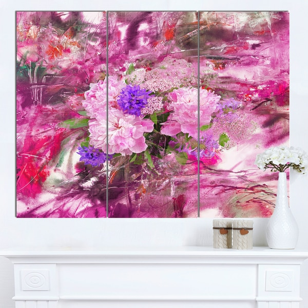 Designart 'Abstract Background with Pink Peony' Extra Large Floral Wall Art